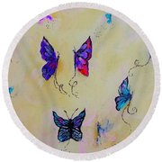 Friends Of Butterflies And Fairies Painting Round Beach Towel by Lisa Kaiser