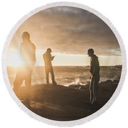 Round Beach Towel featuring the photograph Friends On Sunset by Jorgo Photography - Wall Art Gallery