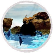 Friends With Dolphins In Colour Round Beach Towel