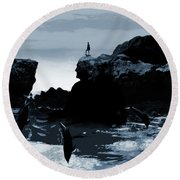 Friends With Dolphins Round Beach Towel