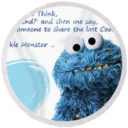 Friendship Is.. - Cookie Monster Cute Friendship Quotes.. 2 Round Beach Towel by Prar Kulasekara