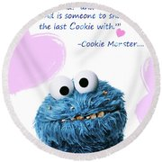 Friendship Is.. - Cookie Monster Cute Friendship Quotes.. 6  Round Beach Towel