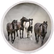 Friesian Horses The Boys And Baby Sister Round Beach Towel