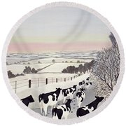 Friesians In Winter Round Beach Towel