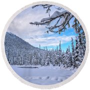 Frigid Beauty Round Beach Towel
