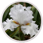 Frilly White Iris Flower Round Beach Towel