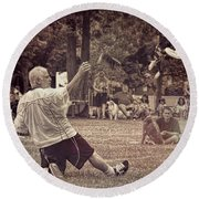 Frisbee Catcher Round Beach Towel by Lewis Mann