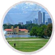 Frisbee In The Park Round Beach Towel
