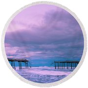 Round Beach Towel featuring the photograph Frisco Fishing Pier And Clouds Panorama by Ranjay Mitra