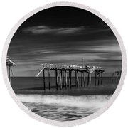 Round Beach Towel featuring the photograph Frisco Fishing Pier In Black And White Panorama by Ranjay Mitra