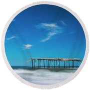 Frisco Fishing Pier In North Carolina Panorama Round Beach Towel