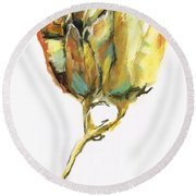 Round Beach Towel featuring the painting Fritillaria by Frances Marino