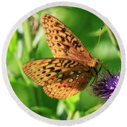 Round Beach Towel featuring the photograph Fritillary Butterfly by Gary Hall