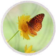 Fritillary Fun Round Beach Towel by MTBobbins Photography