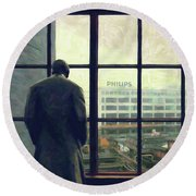 Round Beach Towel featuring the photograph Frits Is Overlooking His Philips Plants In Eindhoven by Nop Briex