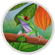 Frog And Cocoa Pod Round Beach Towel