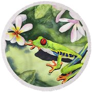 Frog And Plumerias Round Beach Towel