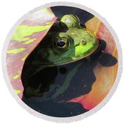Frog Between Lily Pads Round Beach Towel