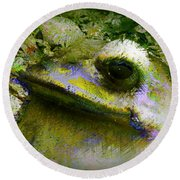 Frog In The Pond Round Beach Towel by Lori Seaman