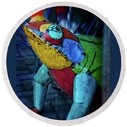 Round Beach Towel featuring the photograph Frog Prince by Mary Machare