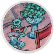 Round Beach Towel featuring the painting Frog Singing At Teatime by Xueling Zou