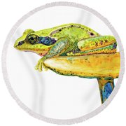 Frog Sitting On A Toad-stool Round Beach Towel