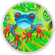 Frog Snake And Gecko In The Rainforest Round Beach Towel