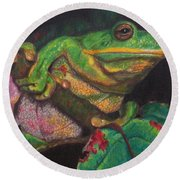 Round Beach Towel featuring the painting Froggie by Karen Ilari