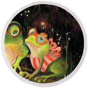 Frogs At Silver Lake Round Beach Towel