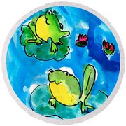 Frogs Round Beach Towel