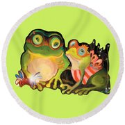 Frogs Transparent Background Round Beach Towel