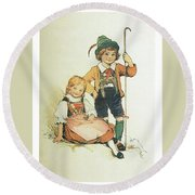 Frolic For Fun Little Swiss Sheep Herder Round Beach Towel by Reynold Jay