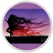 Frolicking Through The Meadow Round Beach Towel