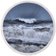 Round Beach Towel featuring the photograph Frolicsome Waves by Jeff Swan