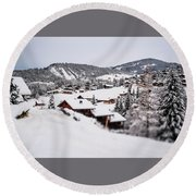 Round Beach Towel featuring the photograph From A Distance- by JD Mims