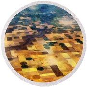Round Beach Towel featuring the digital art From Above by Michelle Calkins