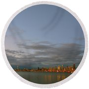 From Alki - Cloudy Night Round Beach Towel