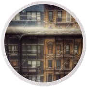 Round Beach Towel featuring the photograph From My Window - A Snowy Day In New York by Miriam Danar