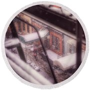 Round Beach Towel featuring the photograph From My Window - Braving The Snow by Miriam Danar