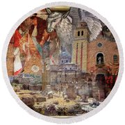 From Rome To America Round Beach Towel