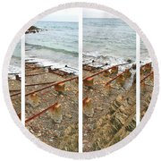 Round Beach Towel featuring the photograph From Ship To Shore by Stephen Mitchell