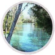 From Spring 3 To Spring 2 At Three Sisters Springs Round Beach Towel