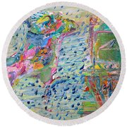 Round Beach Towel featuring the painting From The Altered City by Fabrizio Cassetta