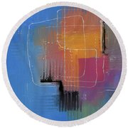 Round Beach Towel featuring the mixed media From The Beginning by Eduardo Tavares