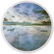 Round Beach Towel featuring the photograph From The Causeway by Leigh Kemp