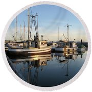 From The Dock At Powell River Round Beach Towel