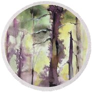 Round Beach Towel featuring the painting From The Fire by Nadine Dennis