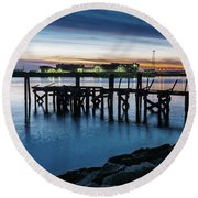 Round Beach Towel featuring the photograph From The Fort Monroe Seawall by Jerry Gammon