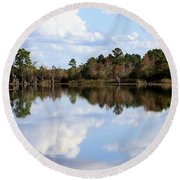 Round Beach Towel featuring the photograph From The Lake To The Channel  by Debra Forand