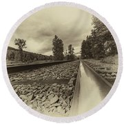 Round Beach Towel featuring the photograph From The Track Antique by Darcy Michaelchuk